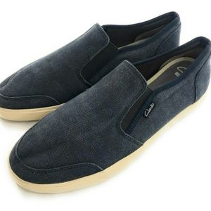 Clark's Womens Blue Canvas Slip On Boat Shoes, 10